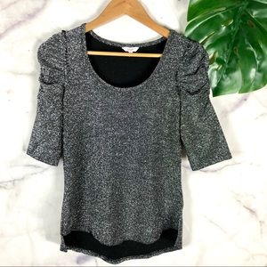 Candie's Silver Sparkle Rouched Sleeve Top